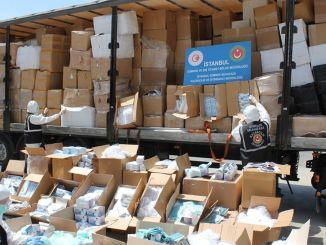 イスタンブールで多数の医療用保護材が押収されました