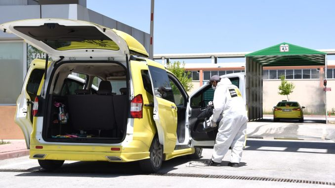 disinfection service for commercial taxi and line minibuses in konya