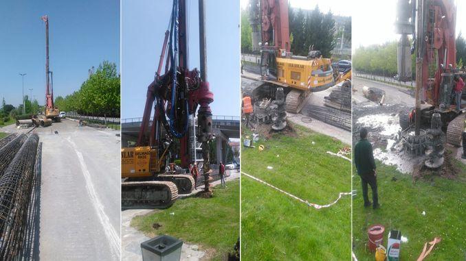 Công việc đã bắt đầu cho lối đi trên được thực hiện tại trạm xe điện Sekapark