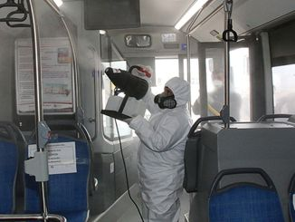 Disinfects in public transportation vehicles in Antalya