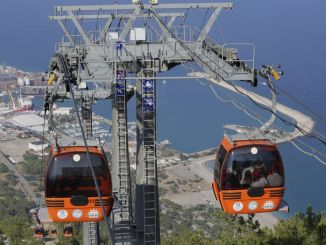 tunektepe cable car and women open the beach doors