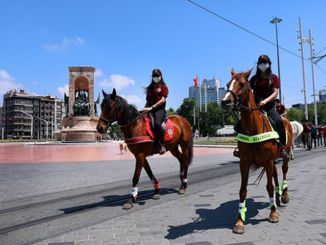 mounted police inspected in taksim