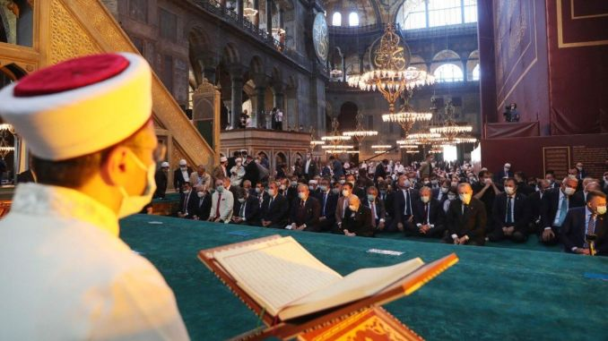 The first Friday prayer was performed in the Hagia Sophia kebir mosque.