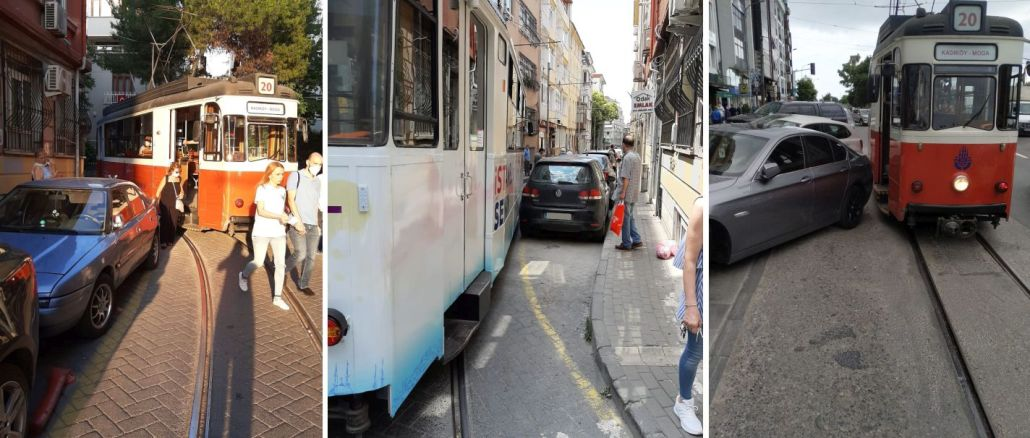 kadikoy moda tramvay seferlerine hatali park engeli