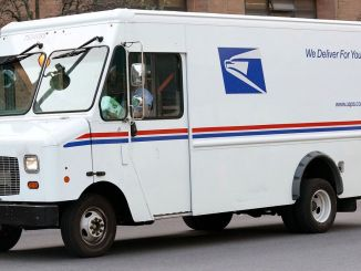 American postal service delivery vehicle tender of the car
