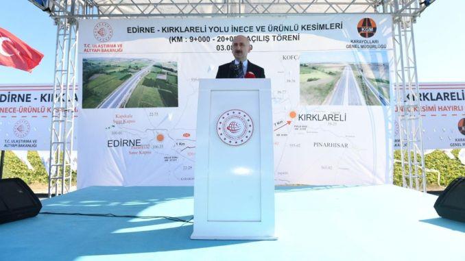 Edirne kirklareli road kilometer incremental section opened