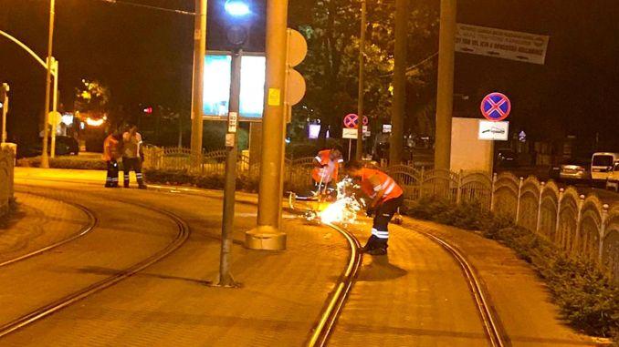 estram started rail grinding works in Kocaeli
