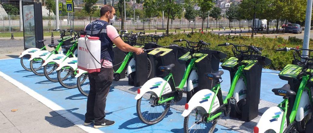 kobis bisikletleri duzenli olarak dezenfekte ediliyor