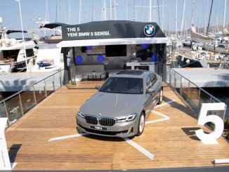 new bmw series anchored in yalikavak marina in bodrum with its stunning design