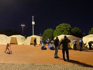 After Izmir Earthquake Bayraklı300 Tents Installed in