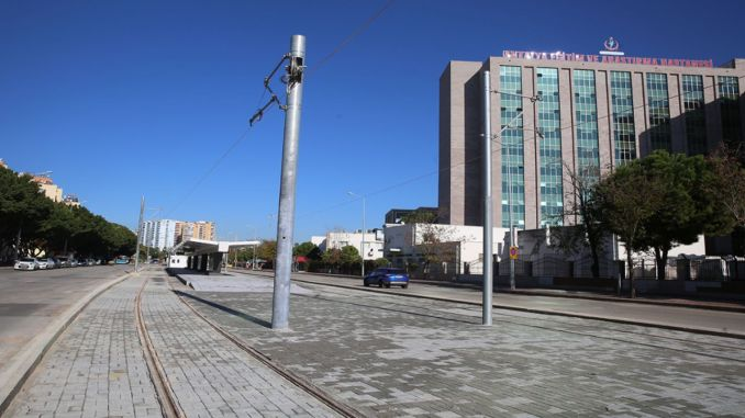 kepez konyaalti street is connected with rails in the stage rail system
