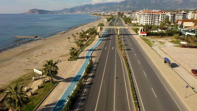 alanya beach band bicycle path works continue at full speed