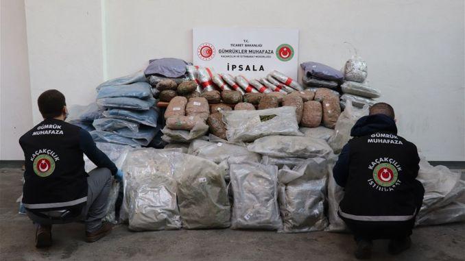 Kilograms of marijuana seized at the ipsala gumruk door