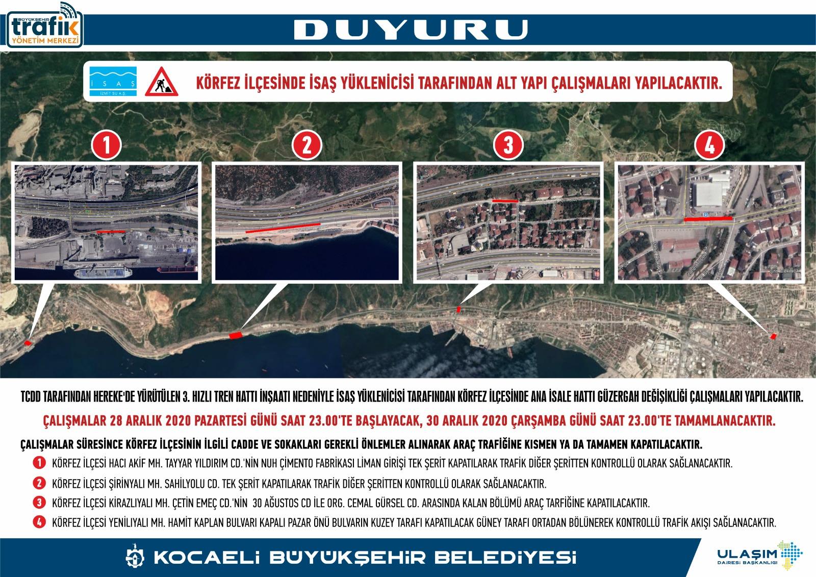 Traffic regulation in Korfez district due to high-speed train line construction