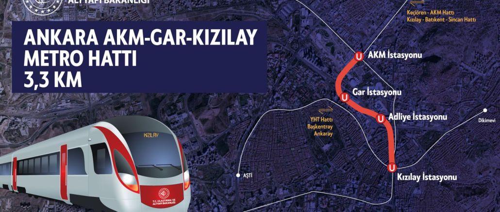חפירות מנהרות לתחנת המטרו akm gar מטרו Kizilay לאנשי אנקרה
