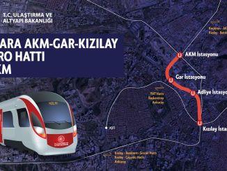 Ankara xalqına Kızılay metrosu akm gar metro stansiyası üçün tunel qazıntıları