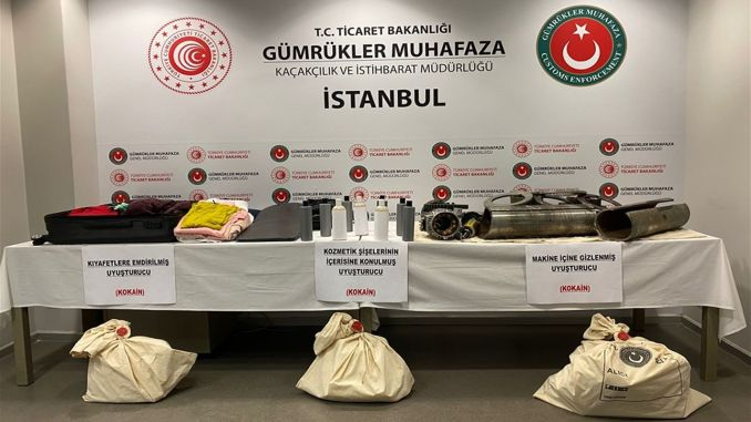 Kilograms of cocaine were seized in operations held at two airports in Istanbul