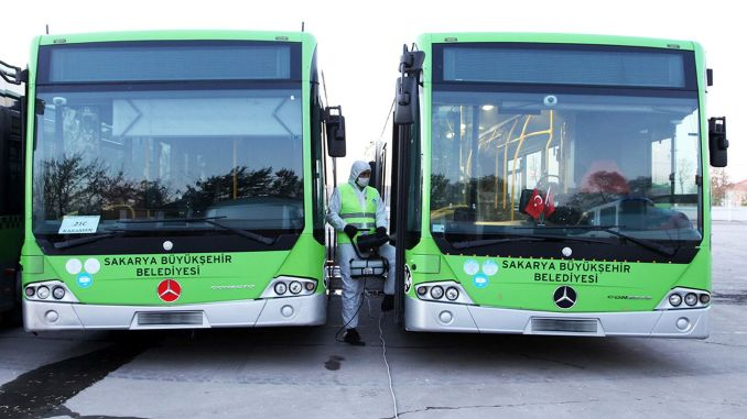 A thousand public transport vehicles in Sakarya disinfected