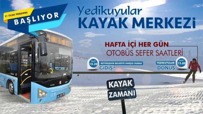 Yedikuyular ski center bus services start