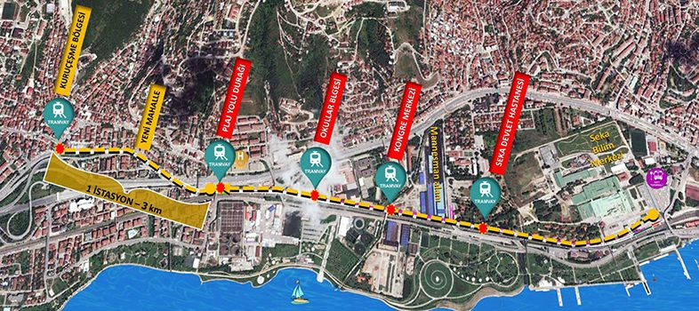 Izmit Kurucesme Tram map