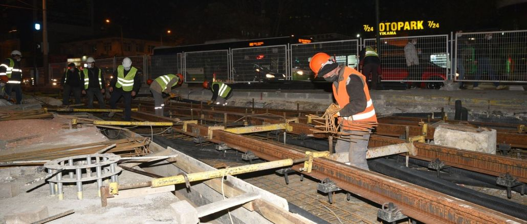 Bursa t tram line integration continues day and night