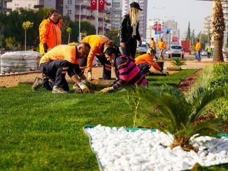 Landscape arrangement of the multi-storey intersection, which has been put into service in Mersin, continues