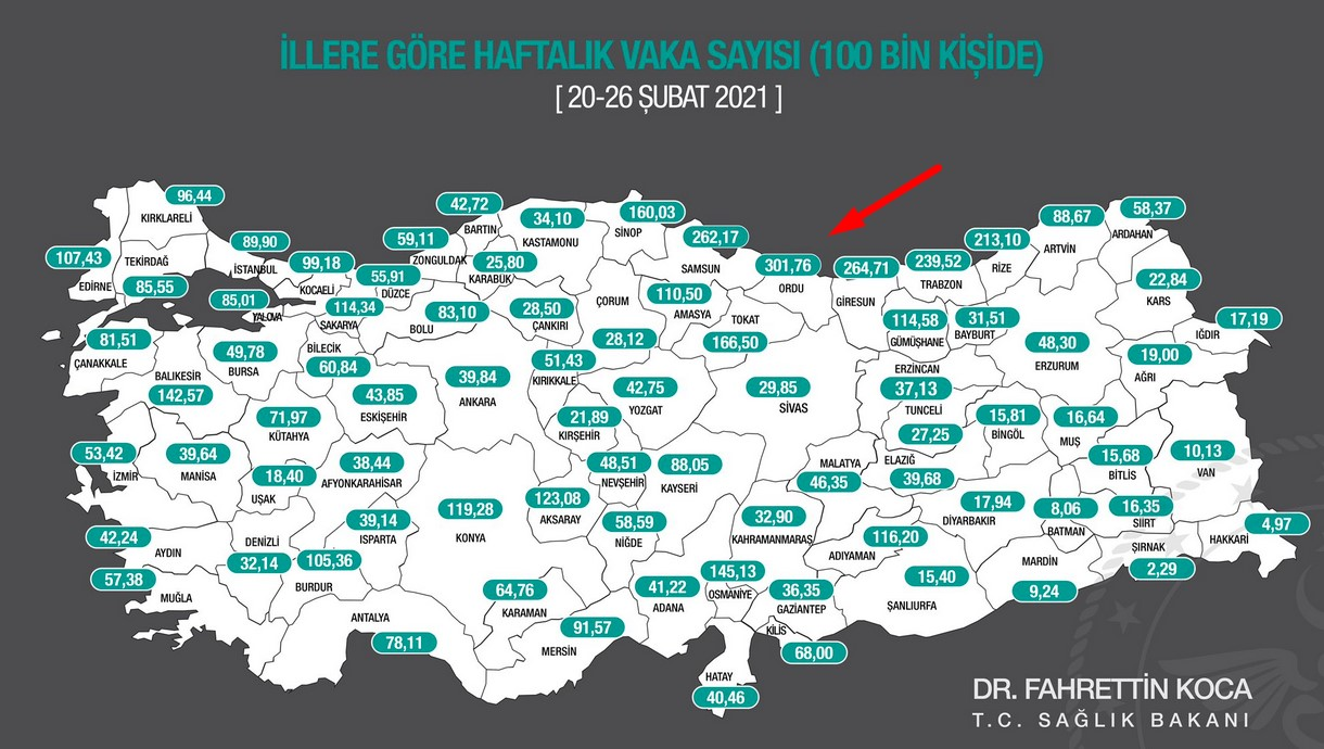 number of cases by major provinces