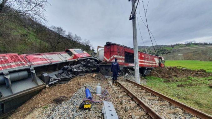 A freight train car derailed in the silence