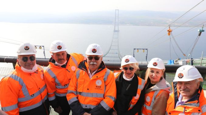 President gokhan examined the construction of the canakkale bridge