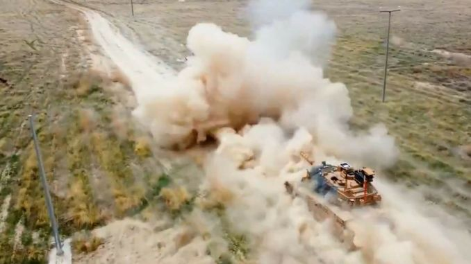 sistema de control de incendios del volcán aselsan probado con tanque