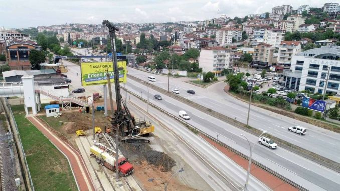 The foundation piles of Kurucesme tram pedestrian bridge started to be taken