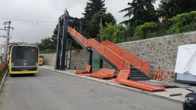 elevators are being built to the overpasses in trabzon