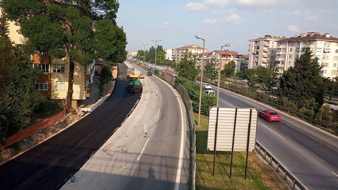Уложен асфальт на дороге, продолженной на трамвайной линии Куручесме.