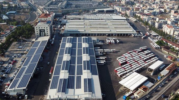 A solar power plant is being built on the roof of the facility in Izmir