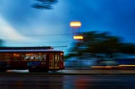 Speeding streetcar.
