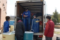 Steve and James deliver Kerosene (Kazuo taking the picture)