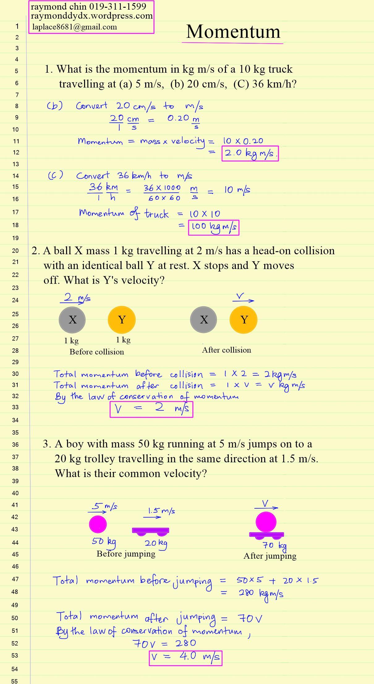 Igcse Ib Momentum Worksheet Physics And Maths Tuition