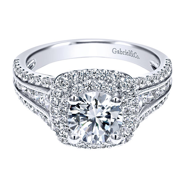 Double Halo Wedding Rings: Gabriel & Co Engagement Rings Double Halo 1ctw Diamonds