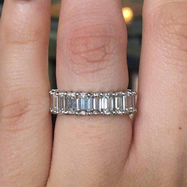 Wedding Bands 376ctw Emerald Cut Diamond Eternity Band