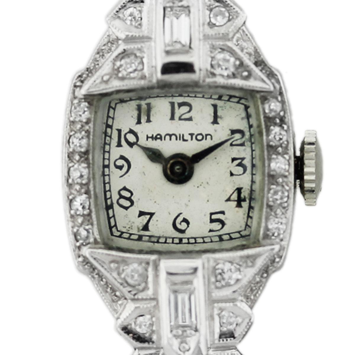 Vintage Hamilton Platinum Ladies Diamond Watch Boca Raton