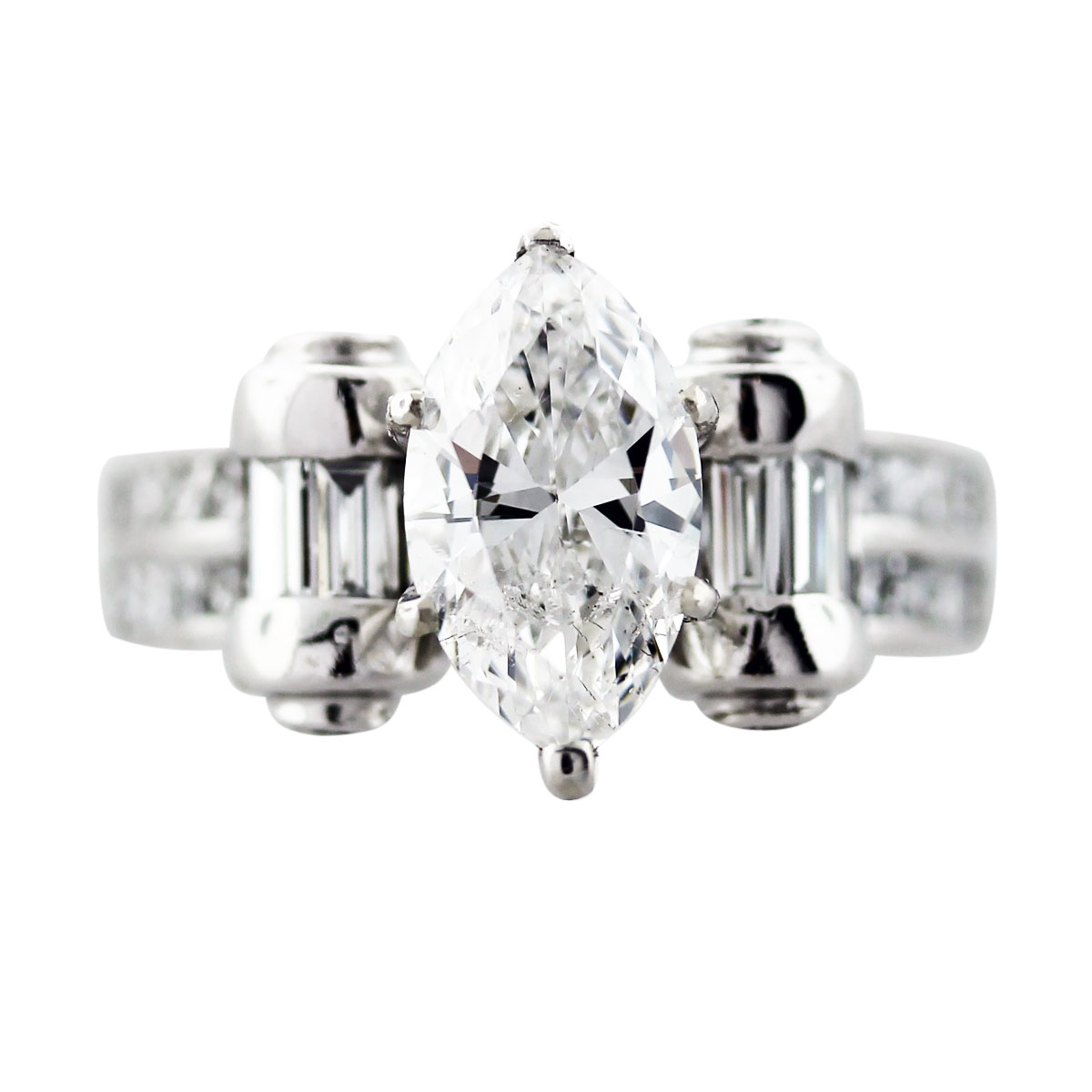 162 Carat Marquise Cut Diamond Engagement Ring 18K White Gold