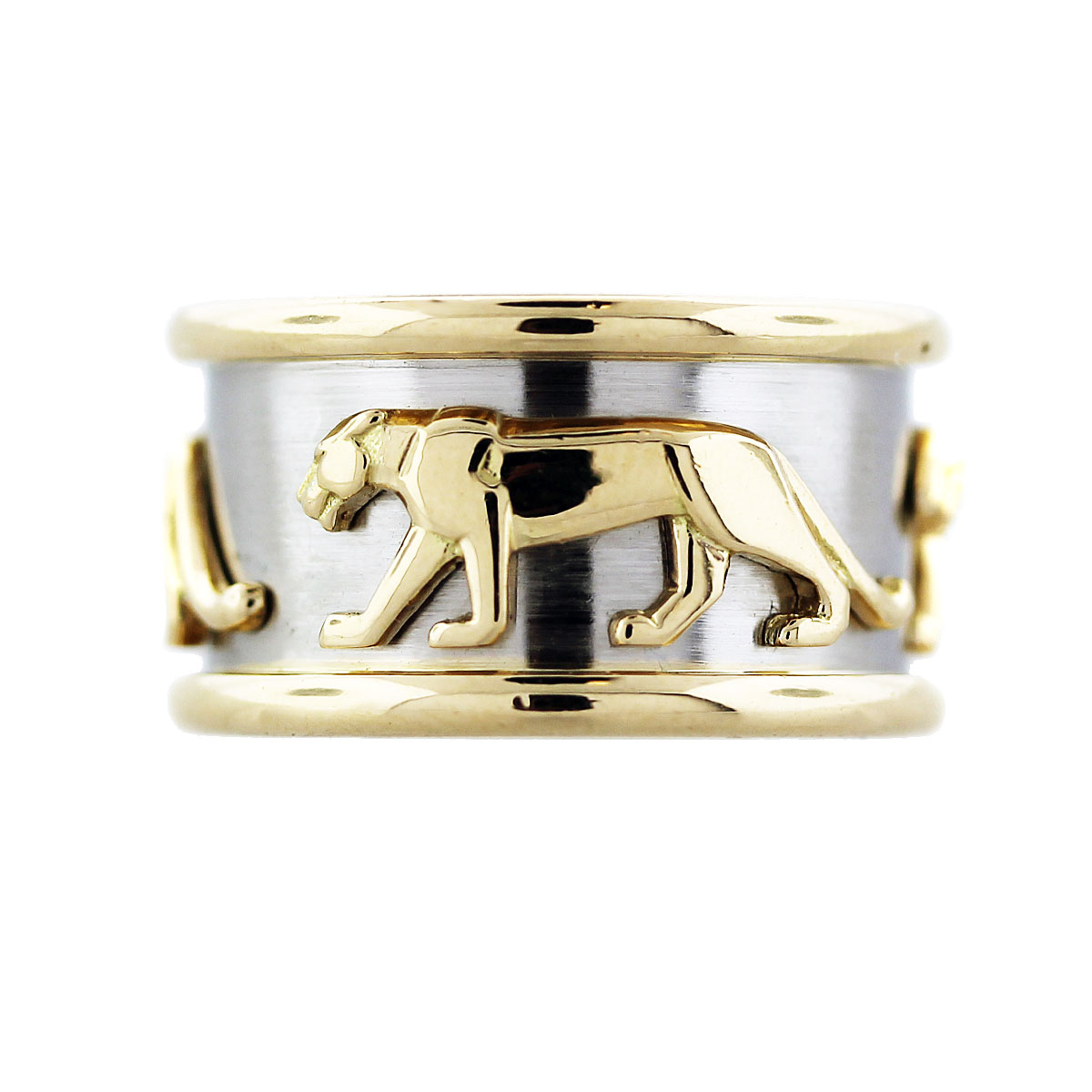 Cartier 18k Two Tone Gold Panther Band Ring Size 59