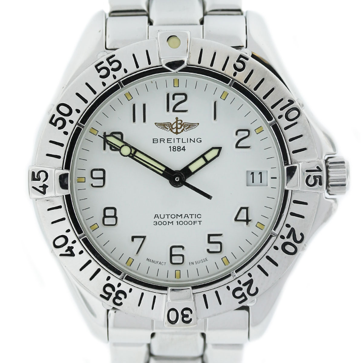 Breitling Colt A17035 Stainless Steel White Dial Mens Watch
