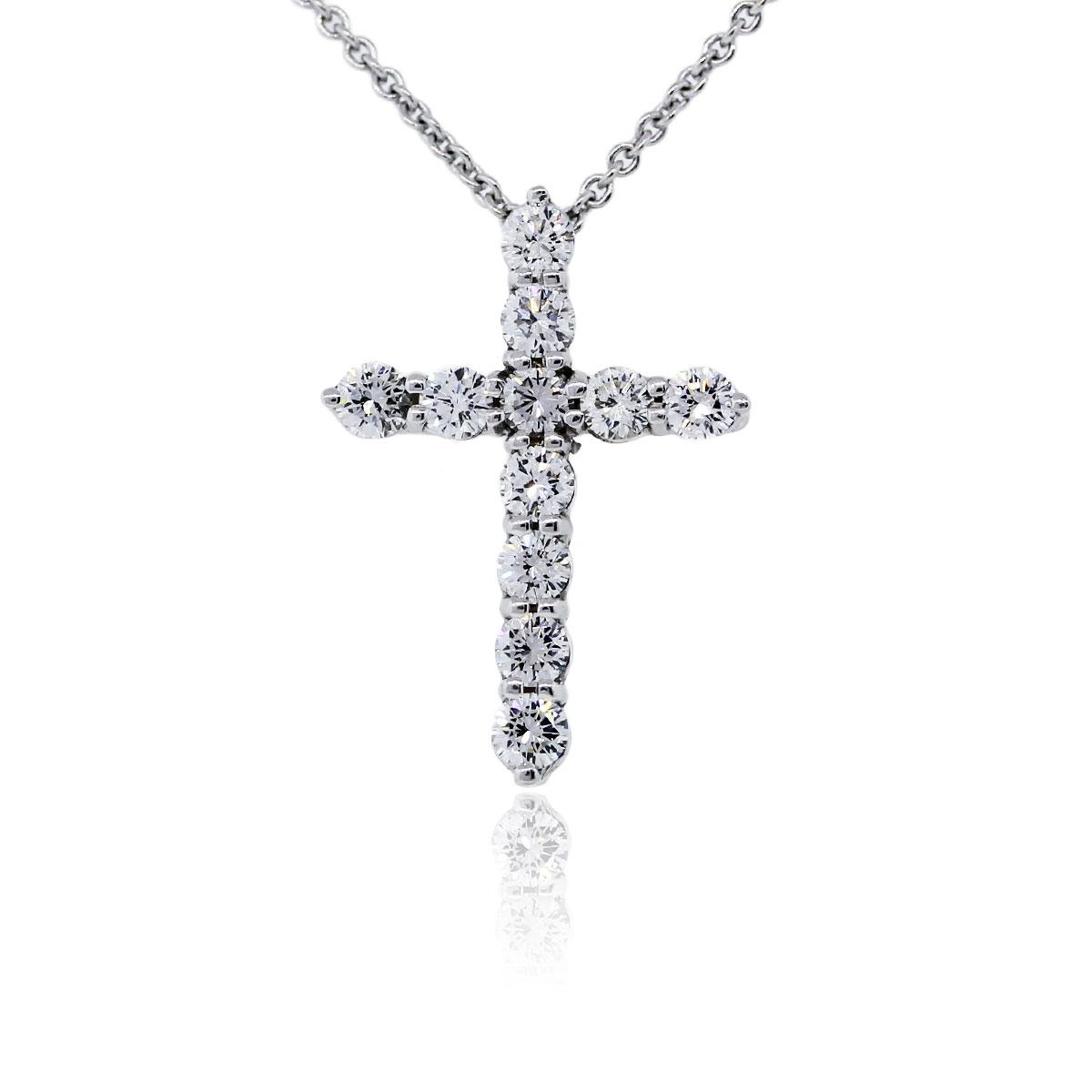 18k White Gold Diamond Cross Pendant Chain Necklace Boca
