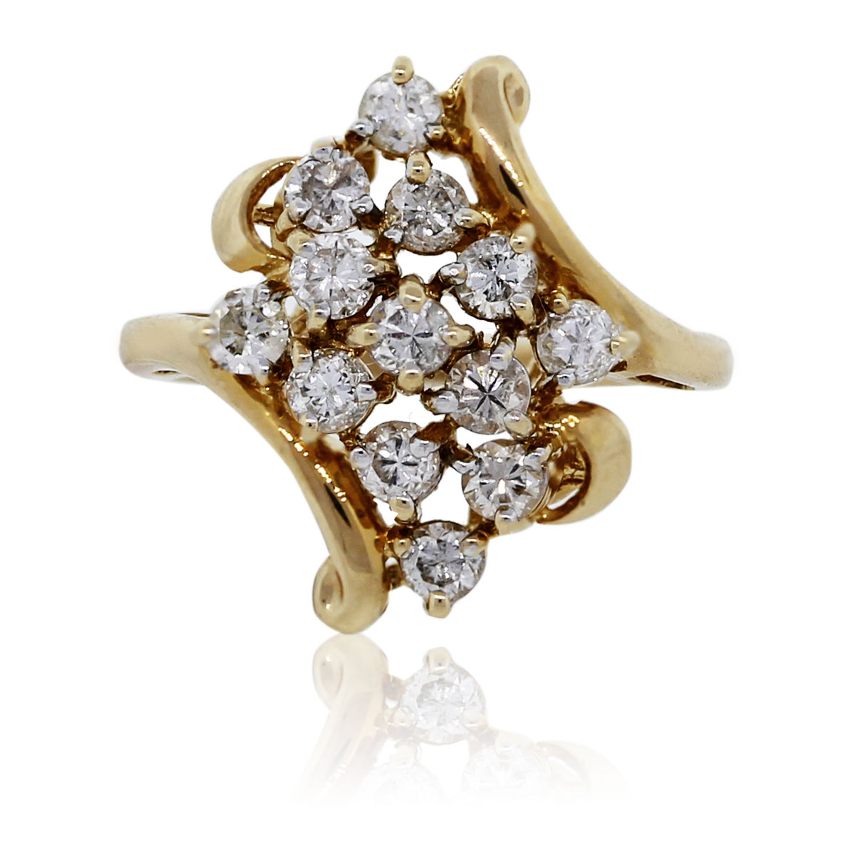 14k Yellow Gold Round Brilliant Diamond Cluster Ring