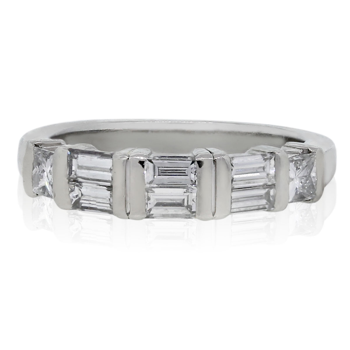 Platinum Princess Cut Amp Baguette Diamond Wedding Band Ring