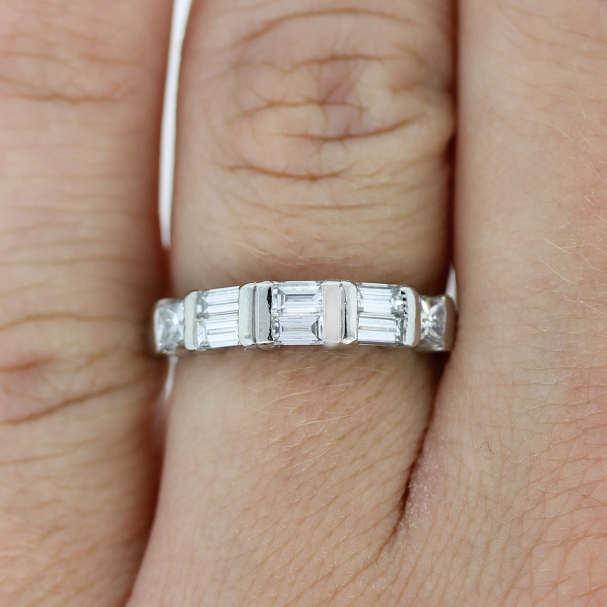Platinum Princess Cut Amp Baguette Diamond Wedding Band Ring