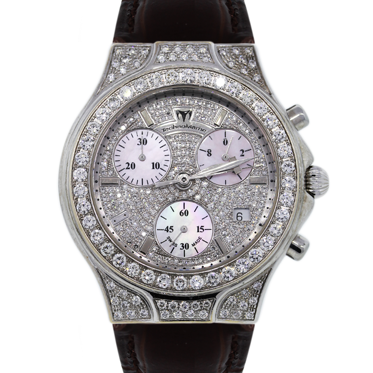 Technomarine Diva No 0042 All Diamond Watch On Leather Strap