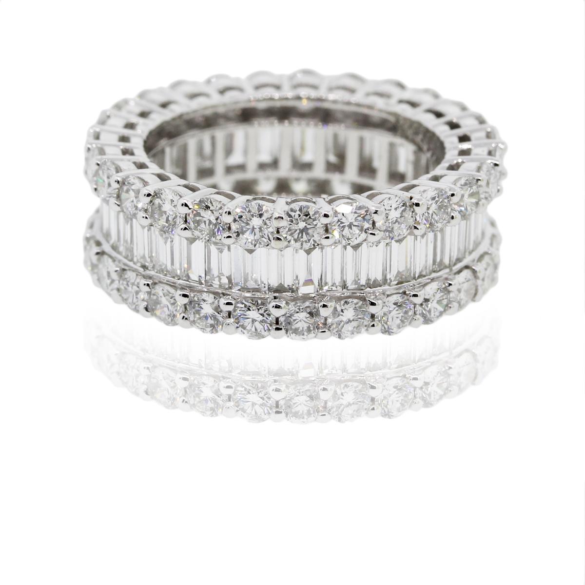 18K White Gold 570ctw Round Amp Baguette Diamond Eternity