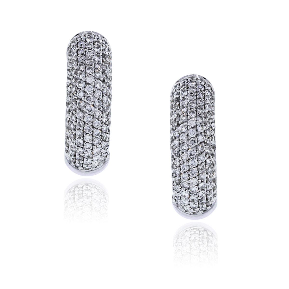 18k White Gold 1ctw Diamond Huggie Earrings